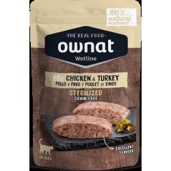 Ownat Wetline comida húmeda para gatos sterilised chicken & turkey