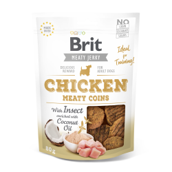 Brit jerky snack with insect meaty coins pollo premios para perro